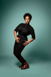Caption:Actress Lolly Adefope  posing for a photo