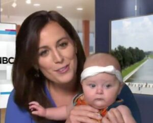 Caption: Hallie Jackson with her baby girl