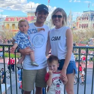 Caption: Katelyn Sweet with her husband Kyle Larson and their kids