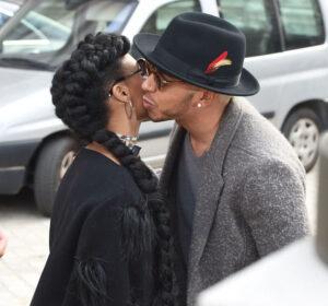 Caption: Janelle Monae with her ex-boyfriend Lewis Hamilton