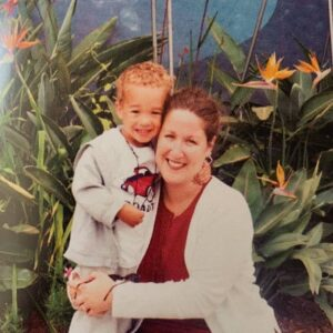 Caption: Noah Pugliano with his mom